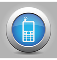 blue metallic button old mobile with antenna icon vector image