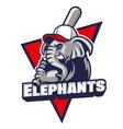 elephant baseball mascot vector image