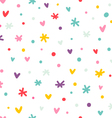 Abstract confetti hearts and stars seamless vector image
