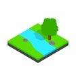 River landscape icon isometric 3d style vector image