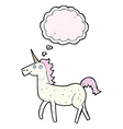 cartoon unicorn with thought bubble vector image