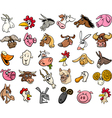 farm animals cartoon heads big set vector image