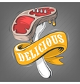 Steak On A Fork With A Banner Ribbon For Message vector image