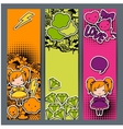 Vertical banners with sticker kawaii doodles vector image