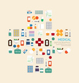 Medical icons healthcare in hospital plus shape vector image