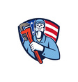 Plumber Holding Wrench USA Flag Shield Retro vector image vector image
