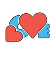 red blue word love vector image