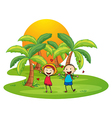 An island with a happy couple vector image