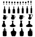 carafe bottles and glasses vector image