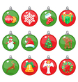 Christmas balls icons set vector image