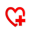 Heart with plus on white background vector image