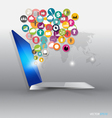 Laptop with cloud of colour application icons vector image