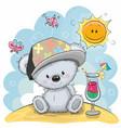 teddy bear on the beach vector image