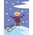 The boy and a snowfall vector image