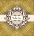 Vintage frame with crown vector image