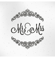 Mister and miss wedding logo design background vector