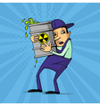Worker with radioactive substance vector image