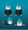penguin christmas cartoon character set vector image