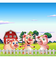 Three pigs dancing inside the fence vector image