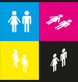 male and female sign  white icon with vector image