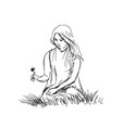 hand sketch woman sitting in grass vector image
