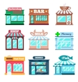 Store and shop buildings flat icons set vector image