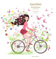 Cute young girl on a bike with butterflies and vector image vector image