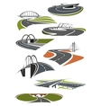 Icons of roads with bridges vector image