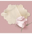 Retro greeting card with pink rose EPS 10 vector image