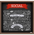Doodle social media icons set with chalkboard vector image