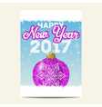 Purple christmas ball with silver snowflake happy vector image