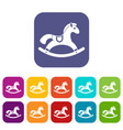 rocking horse icons set vector image
