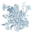 monochrome hand drawn garden flowers vector image vector image