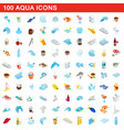 100 aqua icons set isometric 3d style vector image vector image