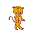 Cute leopard cartoon Cheetah Hand-drawn icon vector image