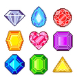 Pixel gems for games icons set vector image