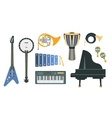 Music Instruments Realistic Drawings Set vector image