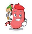artist stomach character cartoon mascot vector image
