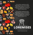barbecue burgers and equipment chalkboard poster vector image