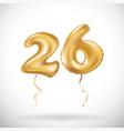 Golden number 26 twenty six metallic balloon vector image