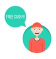 guy in red baseball cap with free cash green vector image