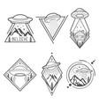 set of six ufo emblems labels badges or logos vector image