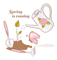 Spring background with set of garden tools vector image