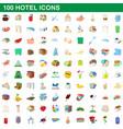 100 hotel icons set cartoon style vector image
