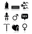 Contraception methods sex icons sex vector image