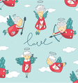 background with cupid and angel love vector image vector image