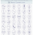beauty and cosmetics outline icon set vector image