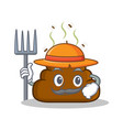 farmer poop emoticon character cartoon vector image