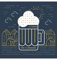 Foamy beer mug linear icon vector image