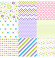 Seamless floral patterns with fabric texture vector image